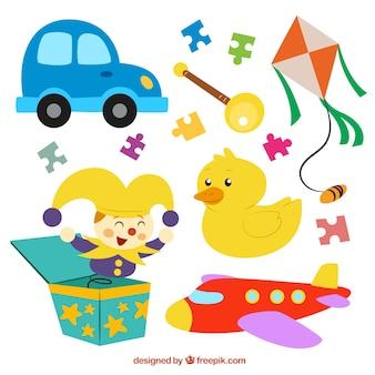 Colección de divertidos juguetes