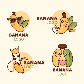 Colección de divertidos logotipos de plátanos