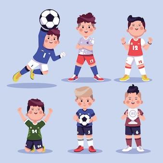 Colección de divertidos personajes de fútbol