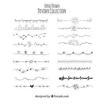 Colección de divisores dibujados a mano