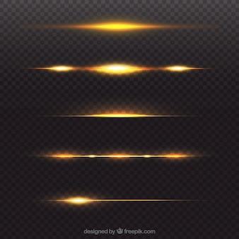 Colección de divisores dorados de bengalas de lente