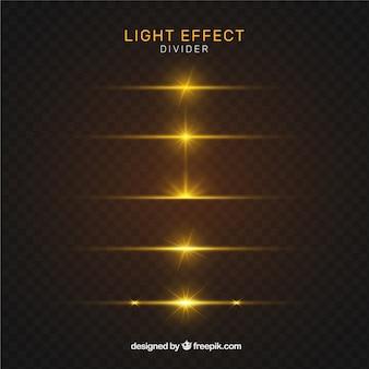 Colección de divisores con efecto de luz dorada