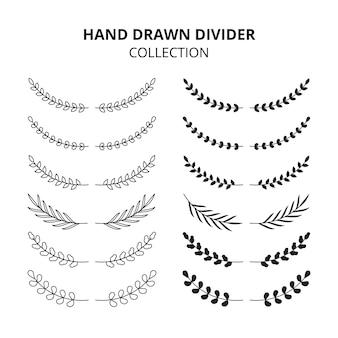 Colección de divisores florales dibujados a mano