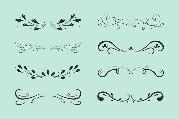 Colección de divisores ornamentales creativos