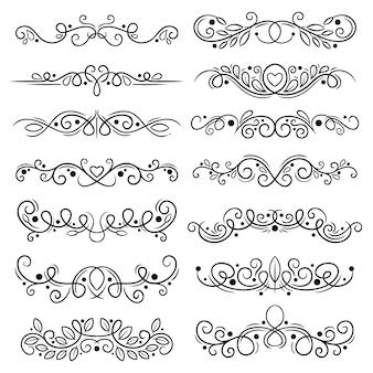 Colección de divisores ornamentales dibujados a mano