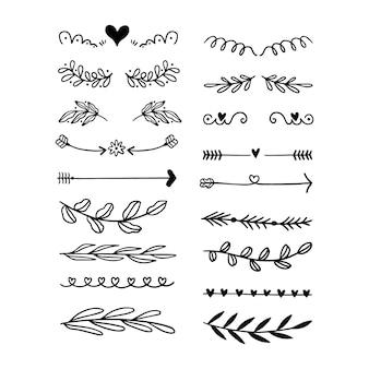 Colección de divisores ornamentales dibujados