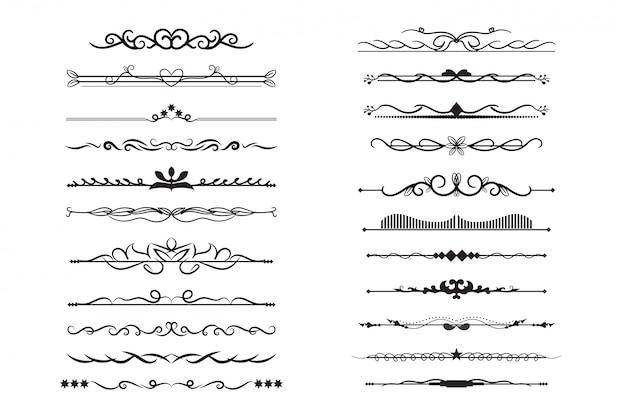 Colección de divisores de texto monograma con adorno