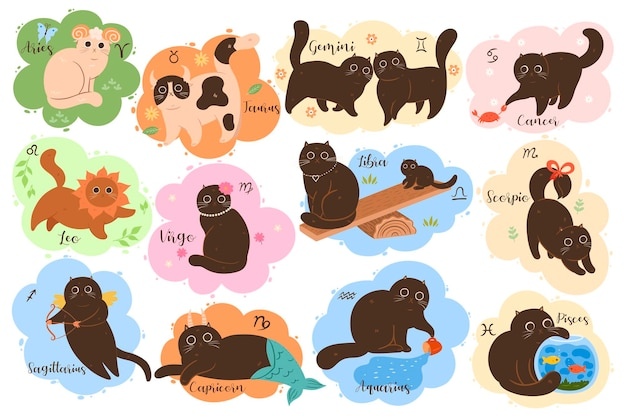 Colección de doce signos del zodíaco aries, tauro, géminis, cáncer, leo, virgo, libra, escorpio, sagitario, capricornio, acuario, piscis. conjunto de gatos lindos del zodiaco kawaii.