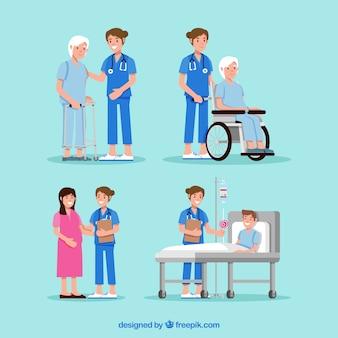 Colección de doctores con pacientes