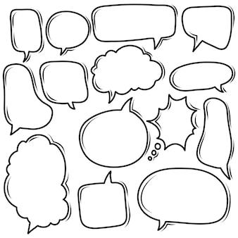 Colección de doodle de burbujas de discurso agradable