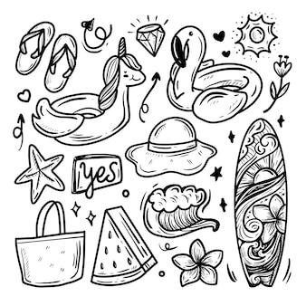 Colección de doodle de etiqueta de dibujo de playa de verano