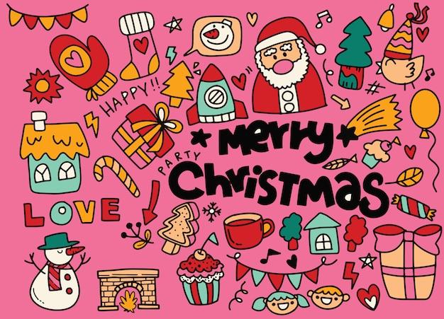 Colección de doodle de navidad, elementos de año nuevo dibujados a mano