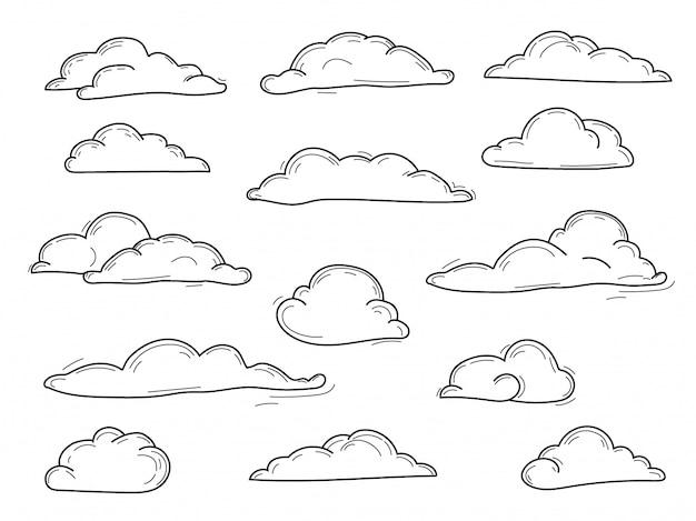 Colección doodle de nubes de vectores dibujados a mano, conjunto de vectores