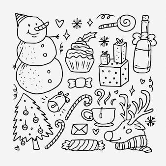 Colección de doodle de vacaciones de navidad dibujado a mano