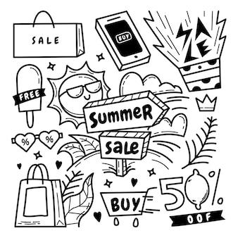 Colección de doodle de venta de verano