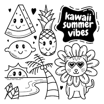 Colección de doodle de vibraciones de verano
