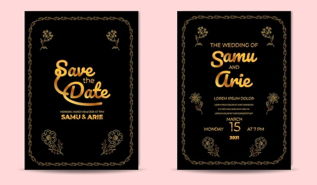 Colección dorada de invitación de boda