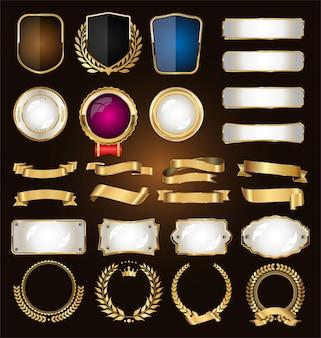 Una colección dorada de varias cintas con etiquetas de laureles y escudos