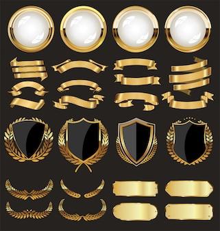 Una colección dorada de varias insignias y etiquetas.