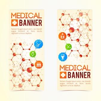 Colección de dos carteles médicos verticales con símbolos y signos, cápsulas medicinales y estructuras atómicas