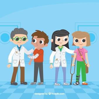 Colección de dos doctores con pacientes