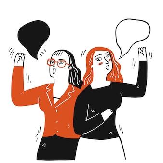 Colección de dos niñas dibujadas a mano saludan el uno al otro.ilustraciones vectoriales en estilo doodle de boceto.