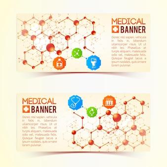Colección de dos pancartas médicas horizontales con símbolos y estructuras atómicas que simbolizan la vida y la salud en la ilustración de fondo rosa