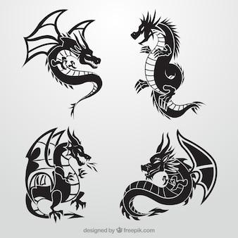 Colección de dragones en color negro