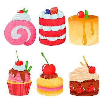 Colección de dulces de acuarela pintados a mano