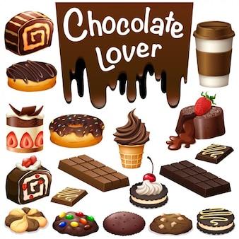 Colección de dulces de chocolate