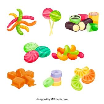 Colección de dulces coloridos en estilo hecho a mano