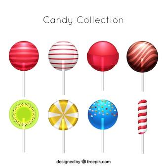 Colección de dulces coloridos en estilo realista