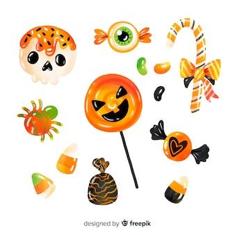 Colección de dulces de halloween de acuarela