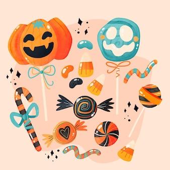 Colección de dulces de halloween en acuarela