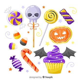 Colección de dulces de halloween dibujados a mano sobre fondo blanco