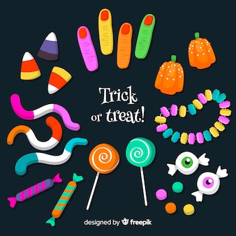 Colección de dulces de halloween dibujados a mano