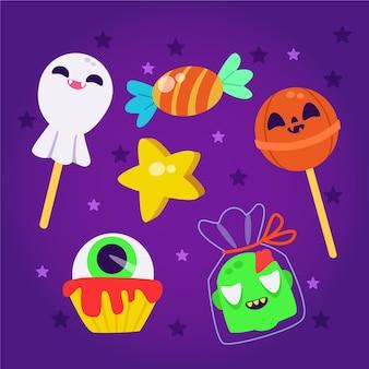 Colección de dulces de halloween en diseño plano