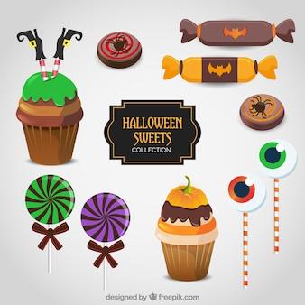 Colección de dulces de halloween en estilo realista