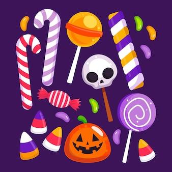 Colección de dulces de halloween planos dibujados a mano