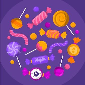 Colección de dulces de halloween