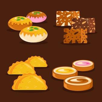 Colección de dulces indios dibujados a mano