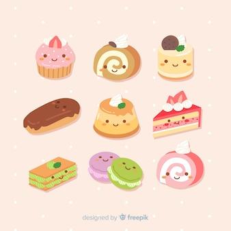 Colección dulces kawaii dibujada a mano
