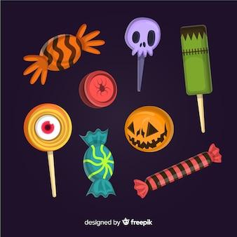 Colección de dulces planos de halloween