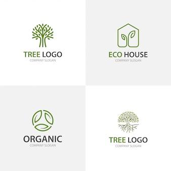 Colección ecológica de logotipo de árbol y hoja verde