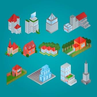 Colección de edificios isométricos