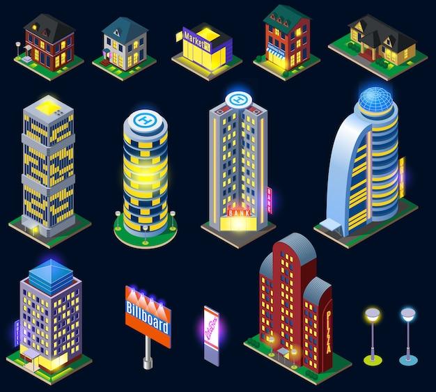 Colección de edificios nocturnos de la ciudad