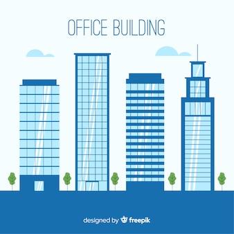 Colección de edificios de oficinas modernos con diseño plano