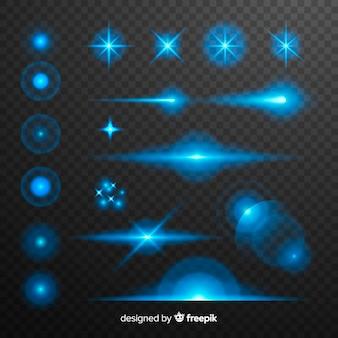 Colección de efecto de luces azules de tecnología