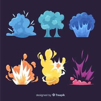 Colección efectos explosión diseño dibujos animados