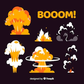 Colección de efectos de explosión estilo de dibujos animados.
